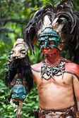 Mayan Shaman in the Xcaret Show in Mexico — Stock Photo