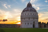 Baptistry of Pisa at sunset, Tuscany, Italy — Stock Photo