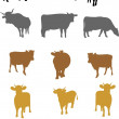 Cows on a white background - Stockvectorbeeld