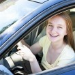 Stock Photo: Teenage girl learning to drive