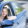 Teenage girl learning to drive - Foto Stock
