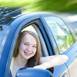 Teenage girl learning to drive — Stock Photo
