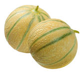 Two melons Cantaloup , isolated on white — Stock Photo
