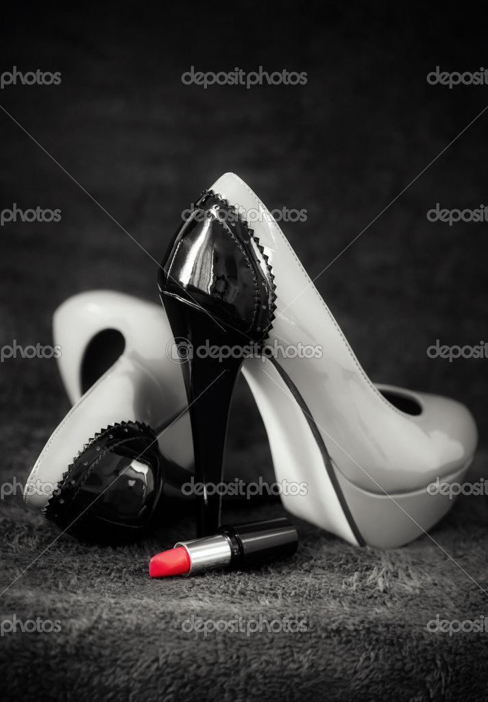Concept about women sexuality with tall shoes and red lipstick — Stock Photo #10802768
