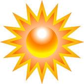 Burning sun with sharp rays — Stock Vector