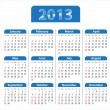 Blue glossy calendar for 2013 - Stock Vector