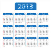 Blue glossy calendar for 2013 — Stock Vector