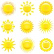 Set of shining suns — Stock Vector