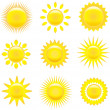 Stock Vector: Set of shining suns