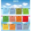 Colorful calendar for 2013 — Stock Vector