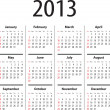 Solid calendar for 2013 - Stock Vector