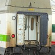 Rear of train passenger car, nobody around — Stock Photo #11646355