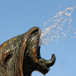 Closeup of a seal head fountain, water coming — Stock Photo