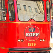 Stock Photo: Red pub tram in capital of Finland, Helsinki