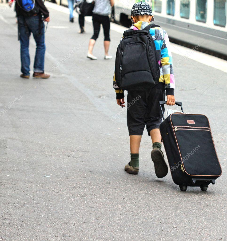 Alone Boy Photography Boy travelling alone, draging