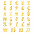 Stock Vector: Golden currency symbols of world