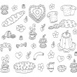Doodle food set — Stock Vector