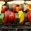 Grilled vegetables skewers and roasted bread — Foto de Stock