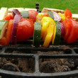Grilled vegetables skewers and roasted bread — Stok fotoğraf