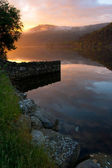 Sunset at Llanberis lake — Stock Photo
