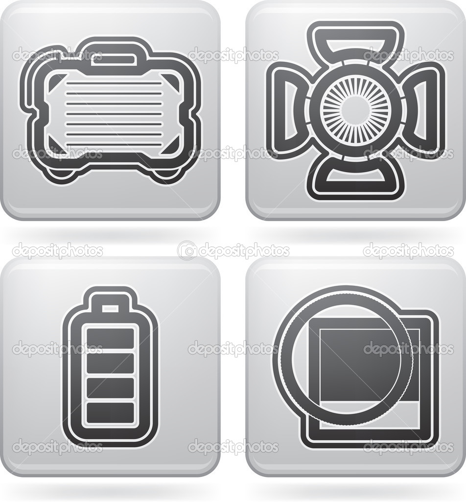 Photography tools & equipment icons set, pictured here from left to right: Camera bag, Studio light, Battery indicator, Lens filter.All icons are part of the 2D Platinum Icons Set saved as an EPS version 10. — Stock Photo #11502053