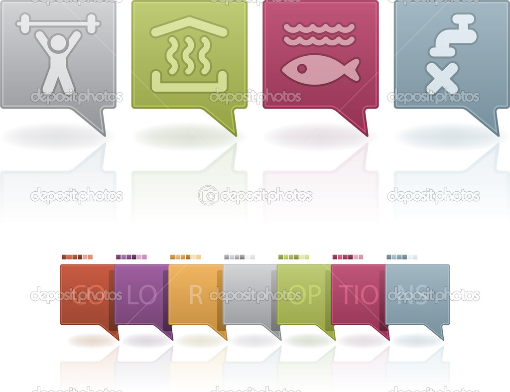 Camping icons to illustrate miscellaneous camping features from left to right: Gym room, Sauna, Aquarium, Non drinkable water. (This artwork set contain 7 different pastel colors scheme placed on separate layers, saved as EPS v. 10) — Stock Photo #11956383