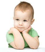 Portrait of a cute and pensive little boy — Stock Photo