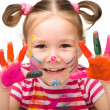 Portrait of a cute girl with painted hands - Foto de Stock