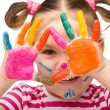 Portrait of a cute girl with painted hands — Foto Stock