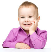 Portrait of a cute and cheerful little boy — Stock Photo