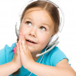 Young girl is working as an operator at helpline — Stock Photo