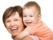 幸せの息子の母の肖像画 — Stockfoto