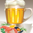 Glass of beer with seafood — Vector de stock