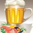 verre de bière aux fruits de mer — Vecteur