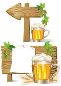 Beer wooden board sign — Stock Vector