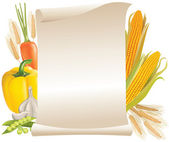 Harvest cereals and vegetable scroll — Stock Vector