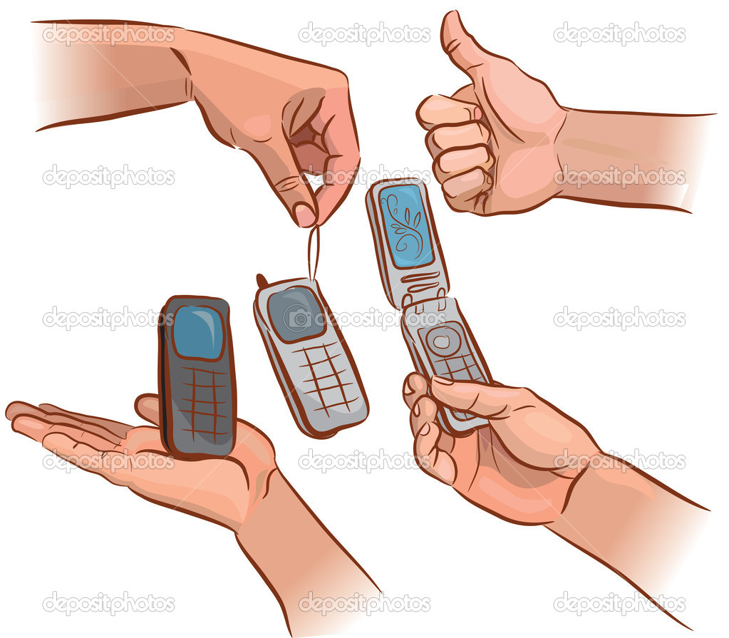 Hands with a mobile phone from various angles. EPS 8. — Stock Vector #11618132