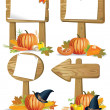 Stock Vector: Wooden sign boards Thanksgiving