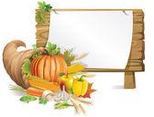 Cornucopia wooden board — Stock Vector