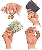 Mãos com dinheiro — Vetor de Stock