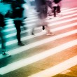 Crowd on zebra crossing street — Stock Photo