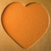 Wood heart shape frame — Stock Photo