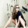Sunglasses woman portrait outdoor — Photo
