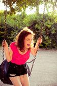Spaß auf schaukel — Stockfoto