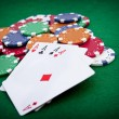 Poker, four aces over background with casino chips — Stock Photo #11129677