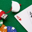 Ace with casino chip on a green casino table with space for text — Stockfoto