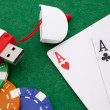 Ace with casino chip on a green casino table with space for text — ストック写真