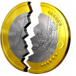 Broken euro - Stock Photo