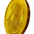 Golden Euro coin - Stock Photo