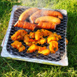Meat on a barbeque — Stock Photo